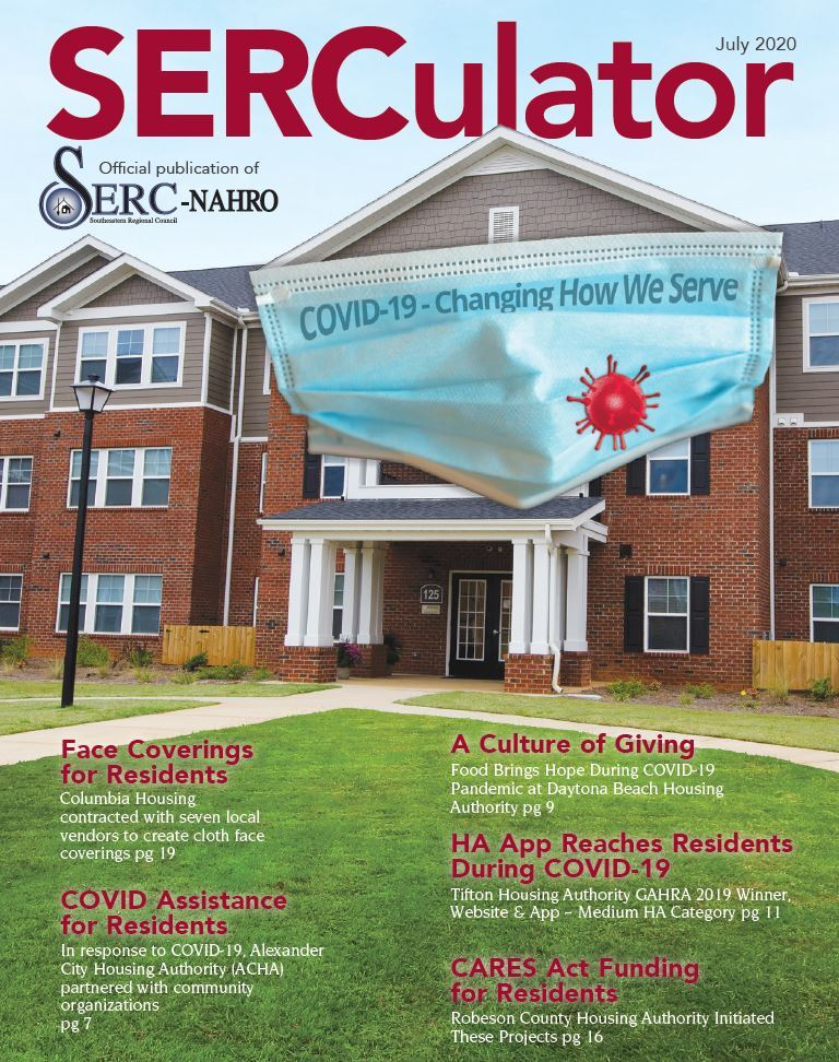 Cover of the July 2020 SERCulator Magazine COVID Mask on Apartment